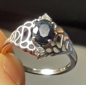 Sterling Silver Gemstone Designer Ring. Size 6.5